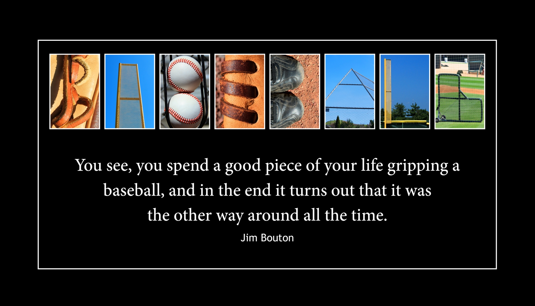 BASEBALL Wood Plaque<br>Baseball Letter Art<br>Jim Bouton Quote