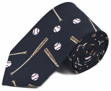Baseballs and Bats Black Polyester Men's Tie