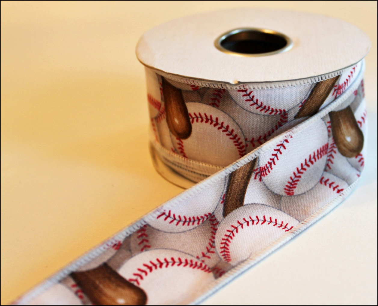 Baseballs and Bats Wire Edged Ribbon