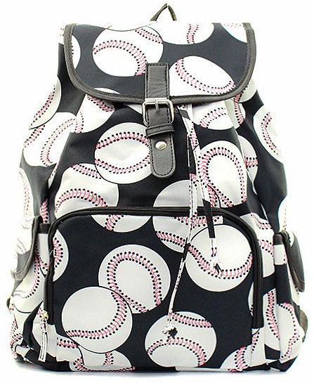 NGIL Baseballs on Black Canvas Backpack<br>LESS THAN 8 LEFT!