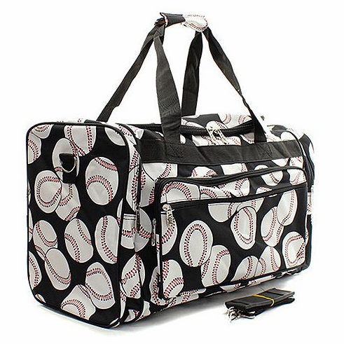 "NGIL Baseballs on Black Canvas 20"" Duffel Bag<br>2 COLORS AVAILABLE!"