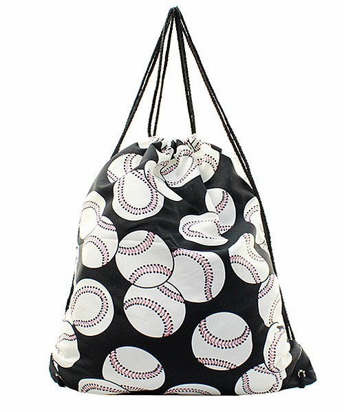 NGIL Baseballs on Black Drawstring Bag<br>LESS THAN 6 LEFT!