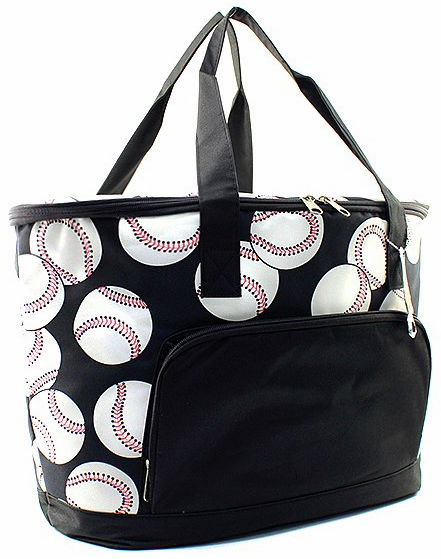 Baseballs on Black Insulated Cooler Bag<br>2 SIZES!