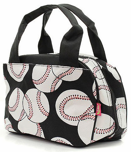NGIL Baseballs on Black Insulated Lunch Bag