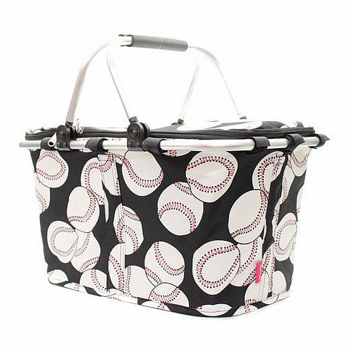 NGIL Baseballs on Black Insulated Market Basket