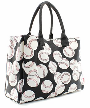 NGIL Baseballs on Black Large Canvas Tote Bag<br>ONLY 1 LEFT!