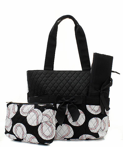 NGIL Baseballs on Black Quilted Diaper Bag<br>ONLY 2 LEFT!