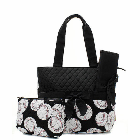 Baseballs on Black Quilted Diaper Bag<br>ONLY 2 LEFT!