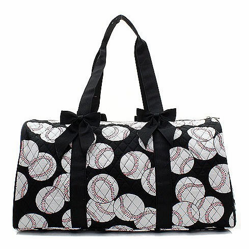 NGIL Baseballs on Black Quilted Duffel Bag