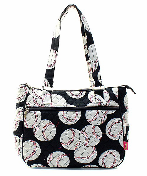 NGIL Baseballs on Black Quilted Handbag