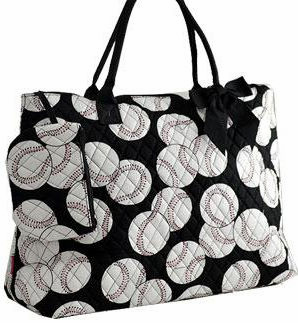 NGIL Baseballs on Black Quilted Large Tote Bag