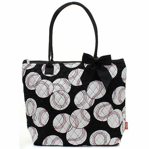 NGIL Baseballs on Black Quilted Tote Bag