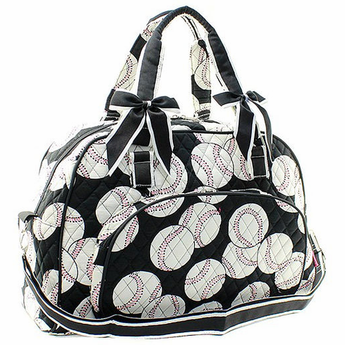 NGIL Baseballs on Black Small Quilted Duffel Bag<br>ONLY 4 LEFT!