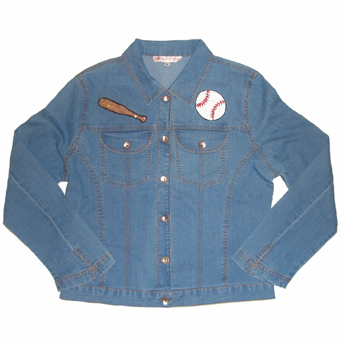 Bat & Baseball Women's Small Denim Jacket by Casey Coleman<br>ONLY 2 LEFT!