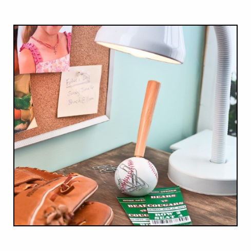 Bat Pen with Baseball Paper Clip Holder