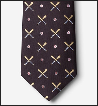 Batter Up Brown Baseball Men's Silk Tie<br>ONLY 2 LEFT!