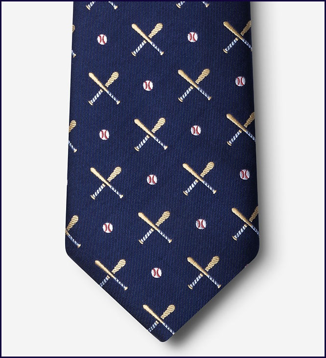 Batter Up Navy Blue Baseball Men's Silk Tie