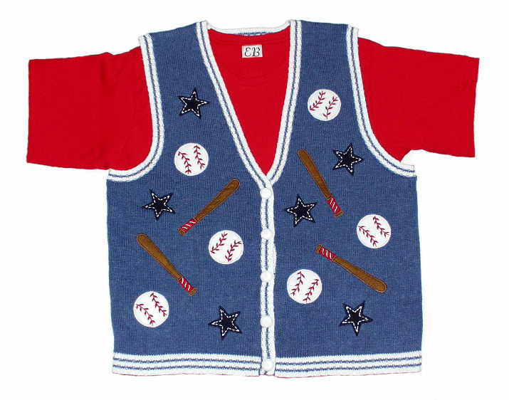 Batter Up Women's Small Baseball Sweater Vest