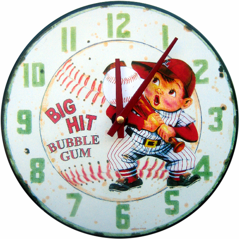 Big Hit Bubble Gum Baseball Wall Clock<br>ONLY 2 LEFT!