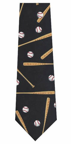 Black Baseballs and Bats Youth Polyester Tie