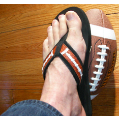Black Football<br>Flip-Flop Sandals<br>ADULT L or XL