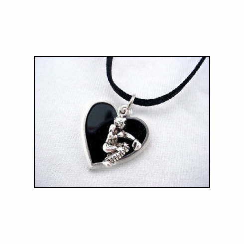 Black Heart Baseball Catcher Necklace