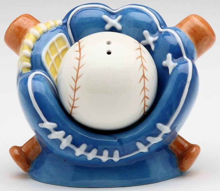 Blue Baseball Mitt Ceramic Salt and Pepper Set