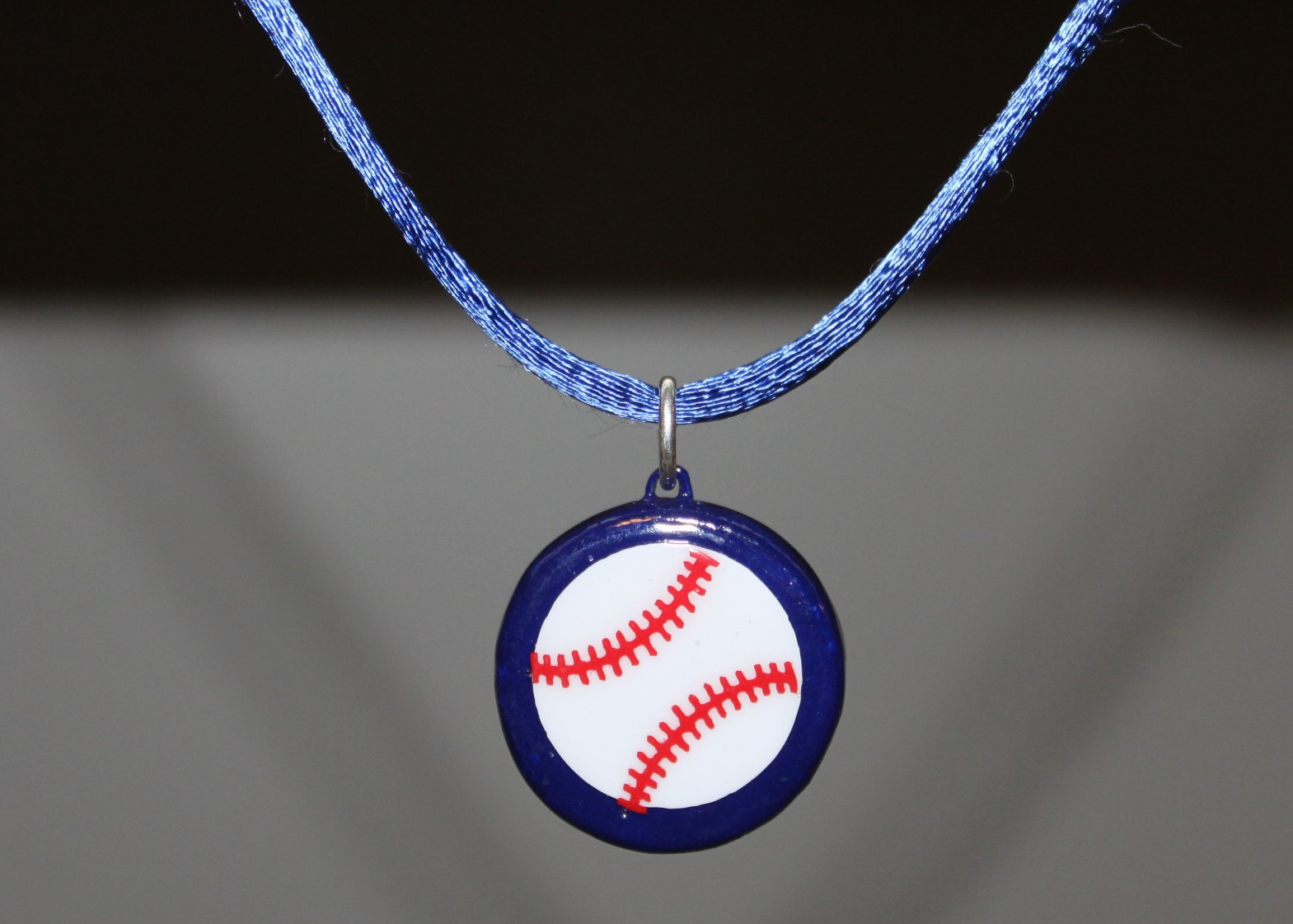 Blue Porcelain Baseball Necklace