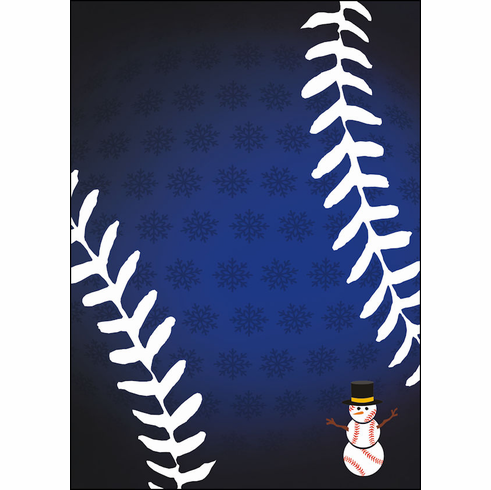 Blue Snowflakes Baseball Snowman Holiday Cards<br>ONLY 3 PACKS LEFT!