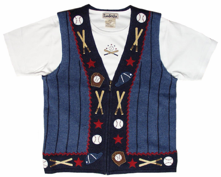 Blue Stripes Baseball Sweater Vest