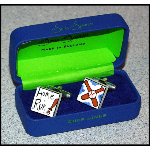 WEEKLY SPECIAL #7<br>Bone China Baseball Cufflinks<br>ONLY 3 LEFT!