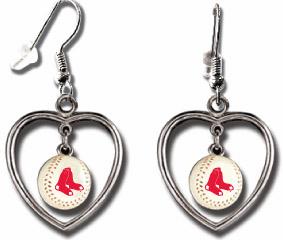 Boston Red Sox 3D Baseball Dangle Heart Earrings<br>ONLY 4 LEFT!