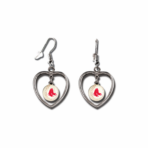 Boston Red Sox 3D Baseball Dangle Heart Earrings<br>ONLY 5 LEFT!
