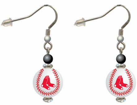 Boston Red Sox 3D Baseball Dangle Hook Earrings<br>ONLY 3 LEFT!