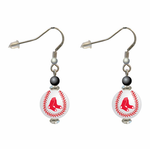 Boston Red Sox 3D Baseball Dangle Hook Earrings<br>ONLY 1 LEFT!