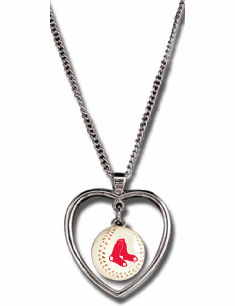 Boston Red Sox 3D Baseball Heart Pendant Necklace<br>ONLY 6 LEFT!