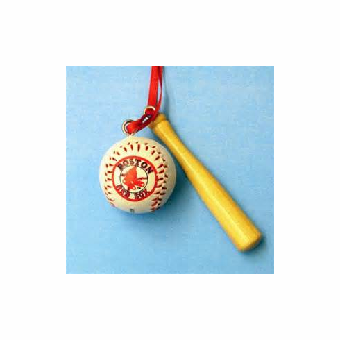 Boston Red Sox Baseball & Bat Ornament