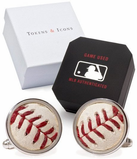 Boston Red Sox Game Used Baseball Cuff Links<br>ONLY 1 LEFT!