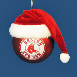 Boston Red Sox Glass Ball with Santa Hat Ornament