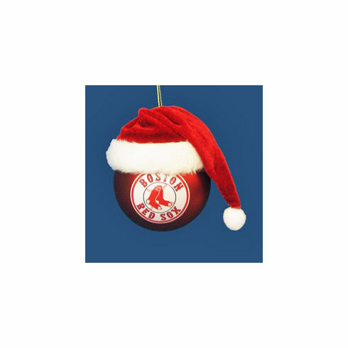 Boston Red Sox Glass Ball with Santa Hat Ornament<br>SOLD OUT!