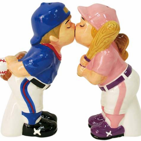 Boy & Girl Baseball Player Salt & Pepper Shakers