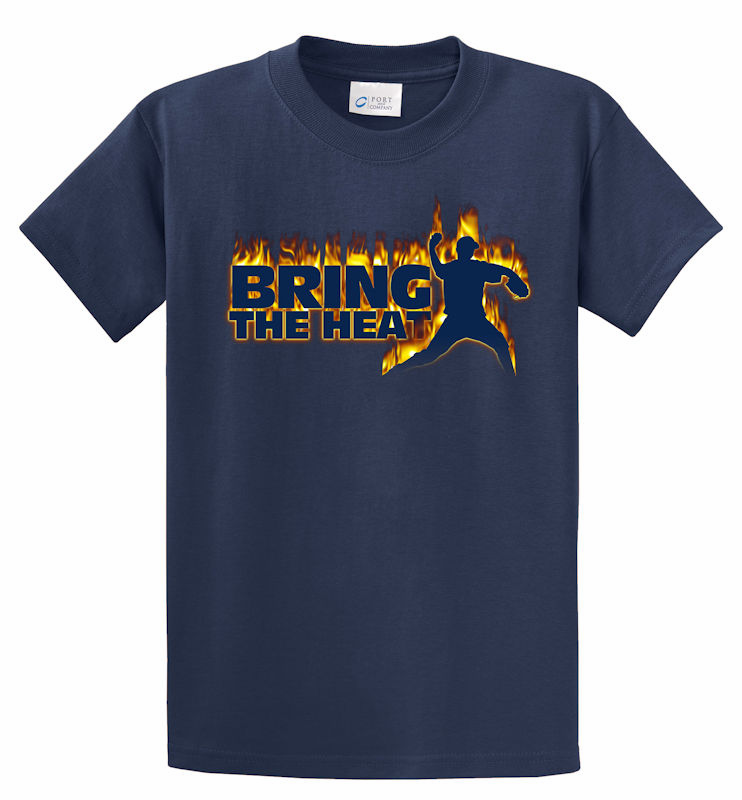 Bring the Heat Baseball Pitcher T-Shirt<br>Choose Your Color<br>Youth Med to Adult 4X