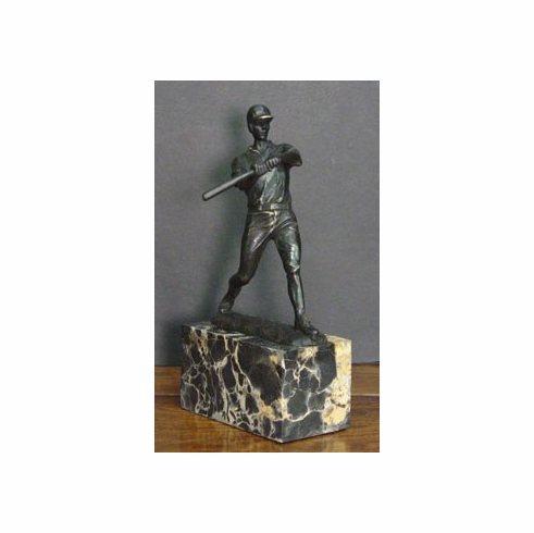 Bronze Baseball Batter with Marble Base