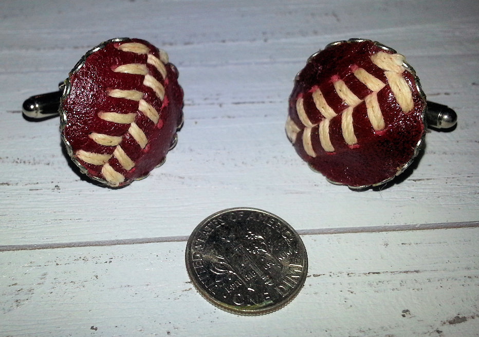 Brown Baseball Stitches Cufflinks<br>ONLY 1 PAIR LEFT!