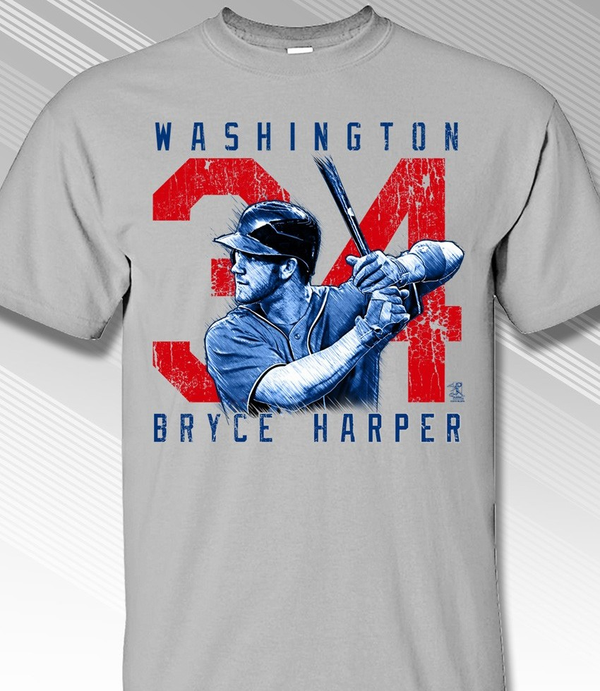 Bryce Harper Rough Cut Washington 34 T-Shirt<br>Short or Long Sleeve<br>Youth Med to Adult 4X
