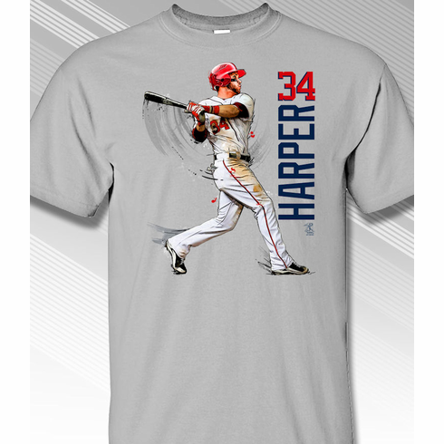 Bryce Harper Swing in Motion Washington 34 T-Shirt<br>Short or Long Sleeve<br>Youth Med to Adult 4X
