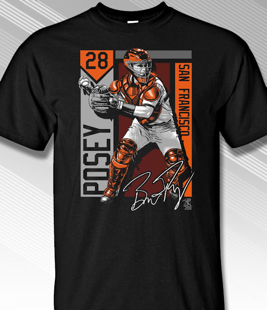 Buster Posey San Francisco Colorblock T-Shirt<br>Short or Long Sleeve<br>Youth Med to Adult 4X