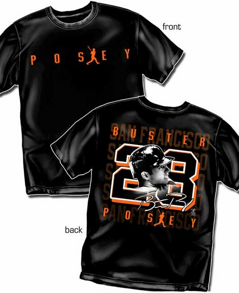 Buster Posey Silhouette Number T-Shirt<br>Short or Long Sleeve<br>Youth Med to Adult 4X