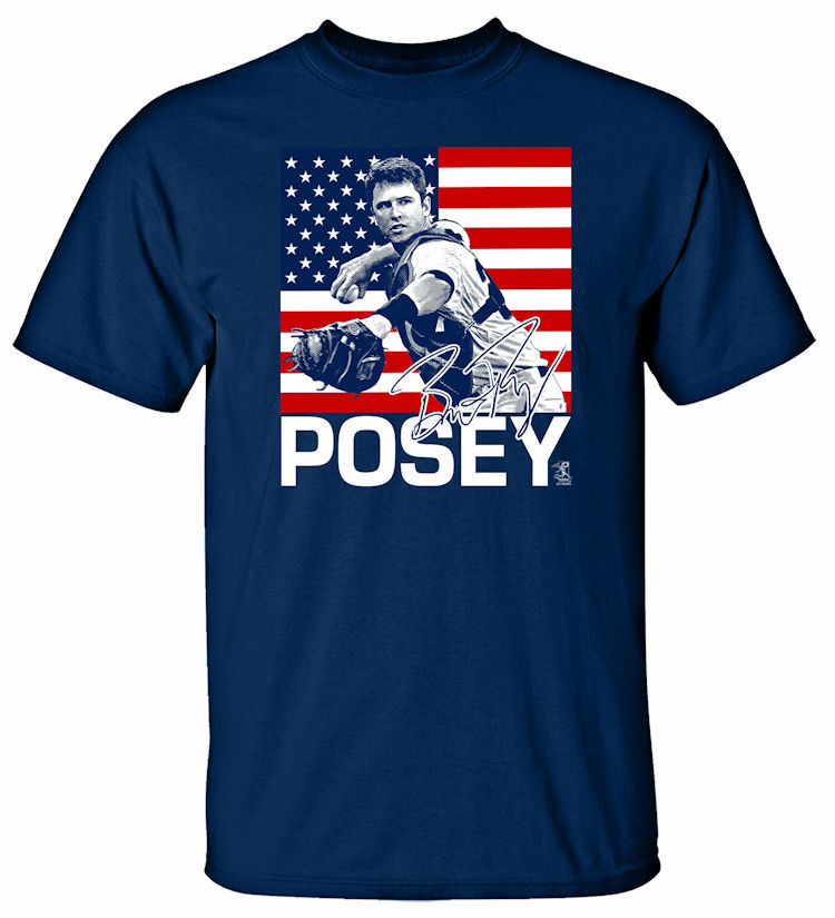 Buster Posey USA Flag T-Shirt<br>Choose Your Color<br>Short or Long Sleeve<br>Youth Med to Adult 4X