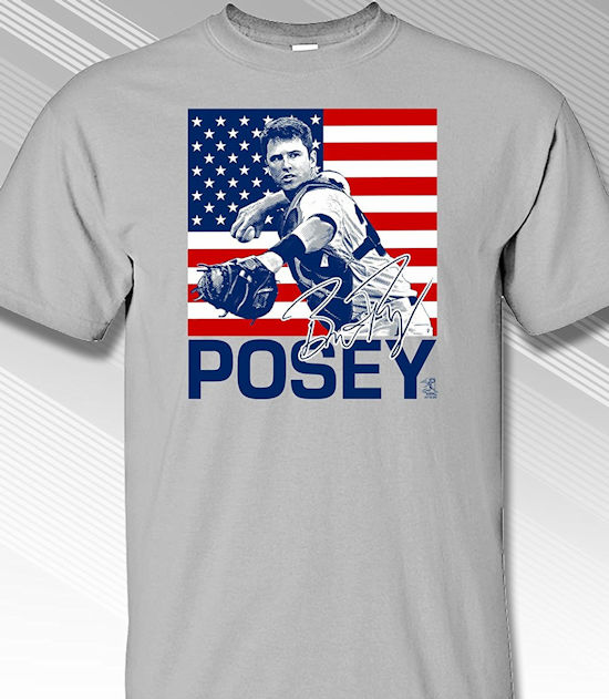 Buster Posey USA Flag T-Shirt<br>Short or Long Sleeve<br>Youth Med to Adult 4X